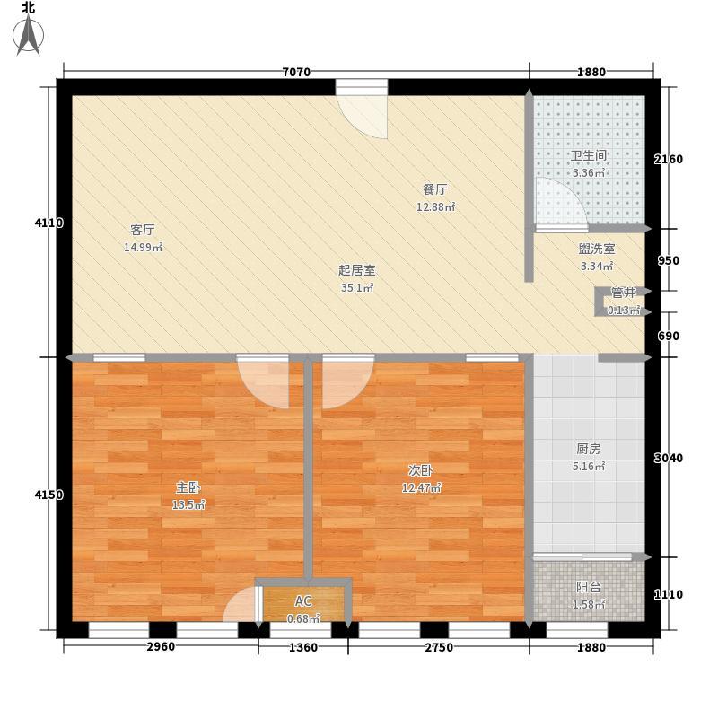 御湖国际74.06㎡一期B楼标准层B面积7406m户型