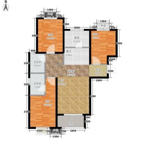 德福巷小区3室1厅2卫1厨118.00㎡户型图
