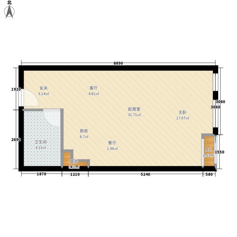 御湖国际40.78㎡一期B楼标准层B面积4078m户型