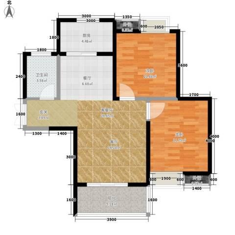 皇冠公寓2室1厅1卫1厨91.00㎡户型图