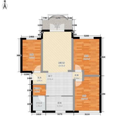 明月花园3室0厅1卫1厨82.00㎡户型图