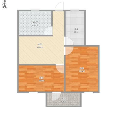 罗山六村2室1厅1卫1厨69.00㎡户型图