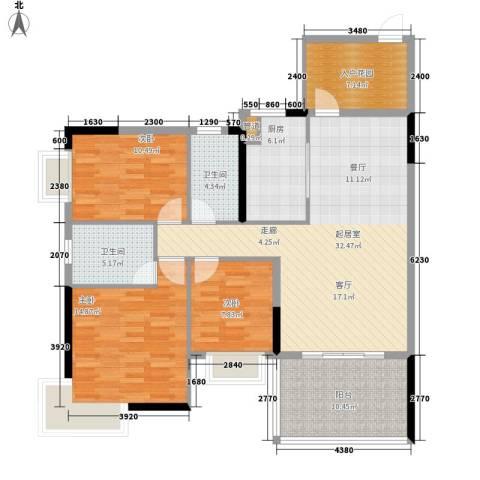 宜居莱茵城3室0厅2卫1厨125.00㎡户型图