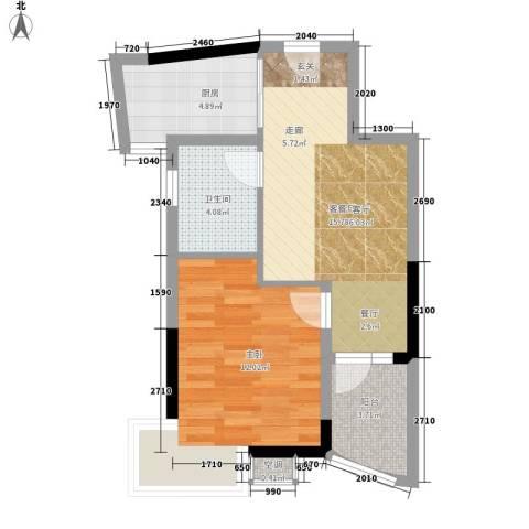 紫金银座1室1厅1卫1厨58.00㎡户型图