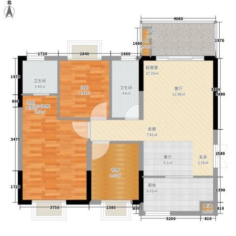 宜居莱茵城3室0厅2卫1厨94.00㎡户型图