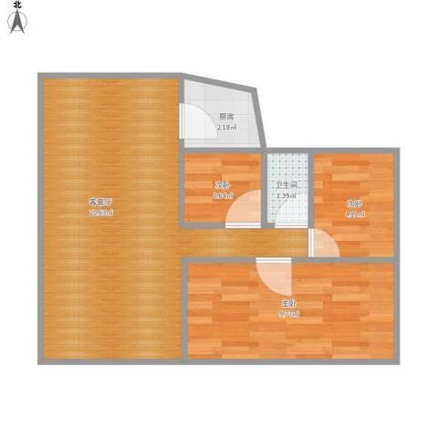 翠前新村3室1厅1卫1厨56.00㎡户型图