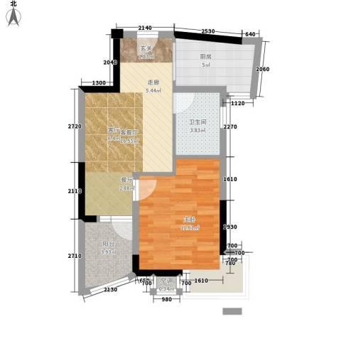紫金银座1室1厅1卫1厨61.00㎡户型图