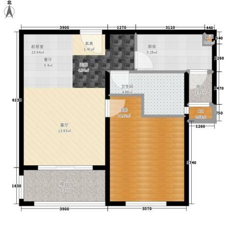 绿地崴廉公寓二期1室0厅1卫1厨79.00㎡户型图