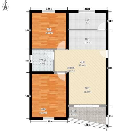 汇景新苑2室0厅1卫1厨86.00㎡户型图