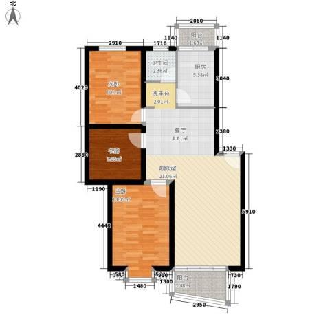 汇景新苑3室0厅1卫1厨96.00㎡户型图