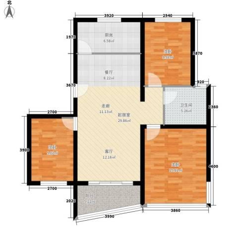 汇景新苑3室0厅1卫1厨94.00㎡户型图