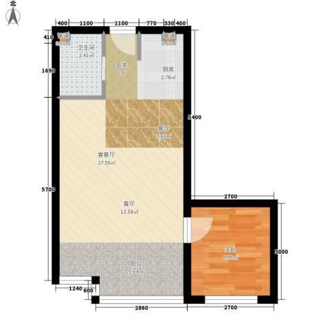 东方公寓1室1厅1卫0厨60.00㎡户型图