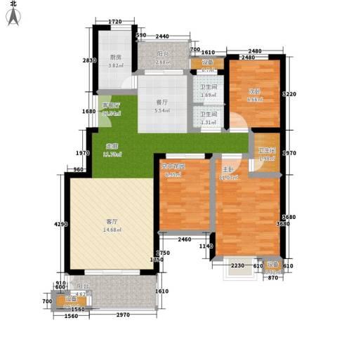 西子湖畔2室1厅3卫1厨90.00㎡户型图