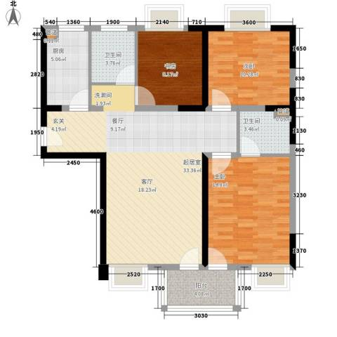 润・花园3室0厅2卫1厨108.00㎡户型图