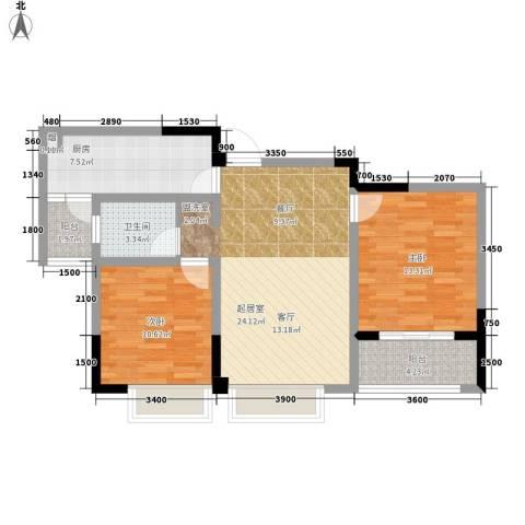 浦洲花园2室0厅1卫1厨95.00㎡户型图