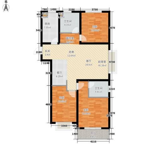 国粹3室0厅2卫1厨123.00㎡户型图