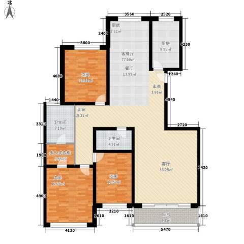 金花园3室1厅2卫1厨176.00㎡户型图