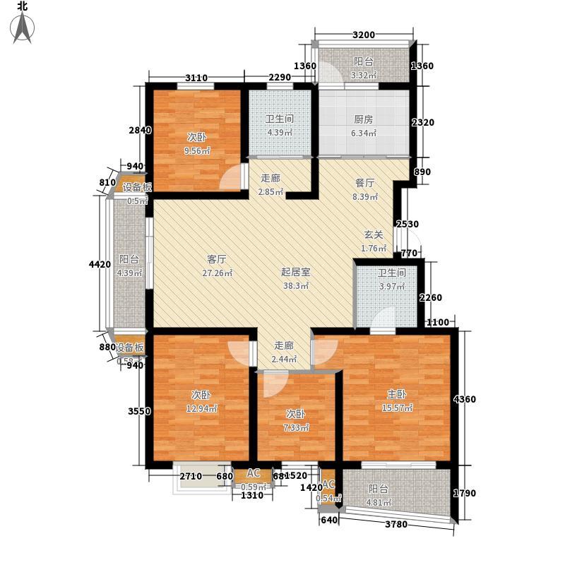 墨香山庄131.00㎡三期C5幢标准层面积13100m户型