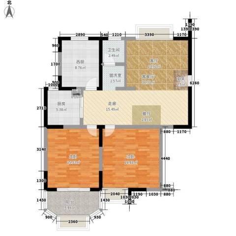 雯锦雅苑2室1厅1卫1厨104.00㎡户型图