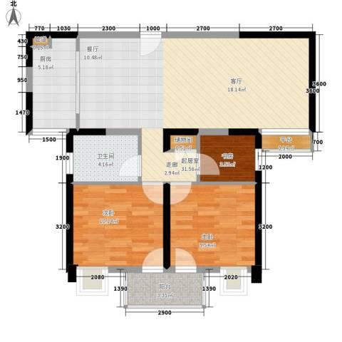 润・花园3室0厅1卫1厨93.00㎡户型图