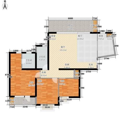 万科金色家园3室0厅2卫1厨136.00㎡户型图