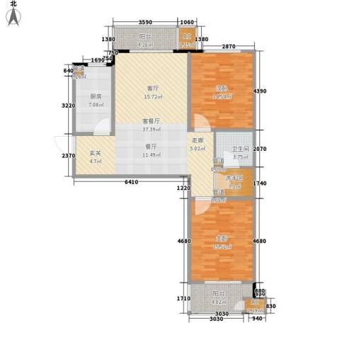 国大全城2室1厅1卫1厨104.00㎡户型图