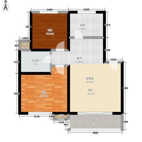 百利华府2室0厅1卫1厨82.00㎡户型图