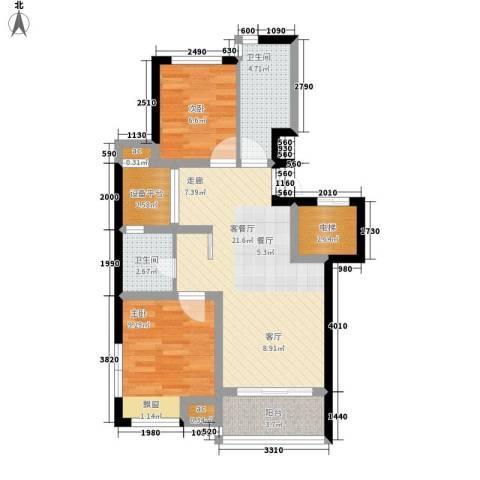 金地名京2室1厅2卫0厨88.00㎡户型图