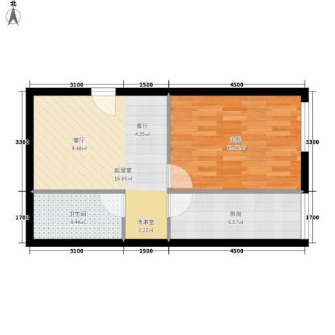 长房中庭国际1室0厅1卫1厨60.00㎡户型图