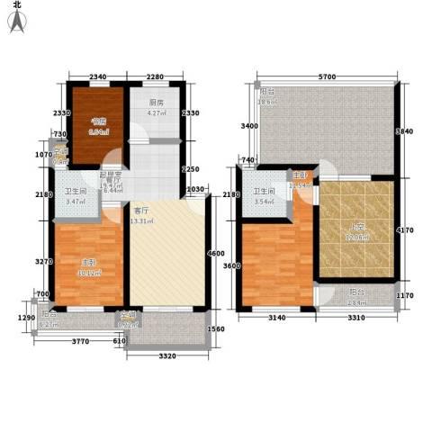 百利华府3室0厅2卫1厨117.00㎡户型图