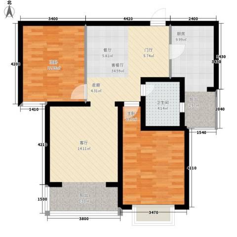 金花园2室1厅1卫1厨106.00㎡户型图