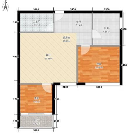 长房中庭国际2室0厅1卫1厨97.00㎡户型图