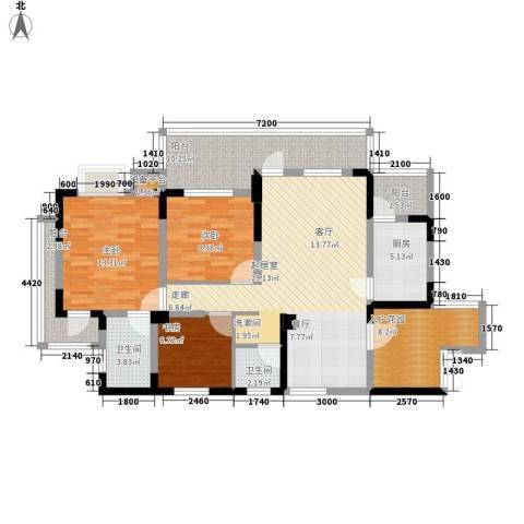 书香府邸3室0厅2卫1厨104.00㎡户型图