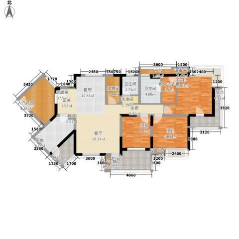 书香府邸3室0厅2卫1厨140.00㎡户型图