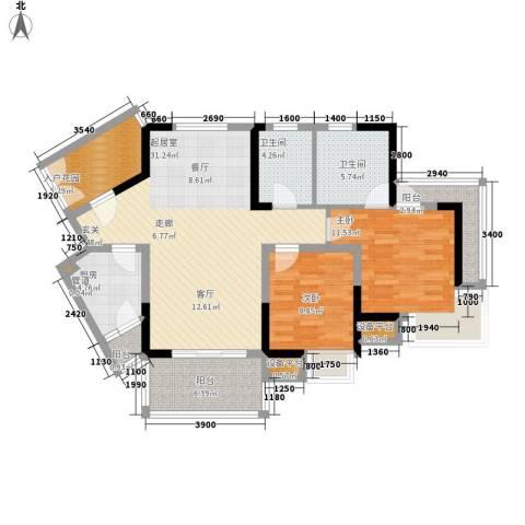 书香府邸2室0厅2卫1厨93.00㎡户型图