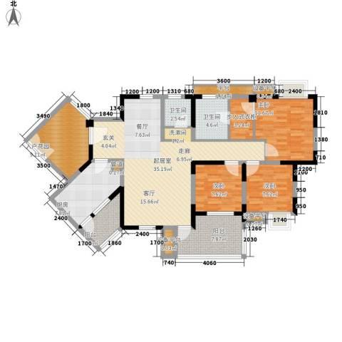书香府邸3室0厅2卫1厨124.00㎡户型图