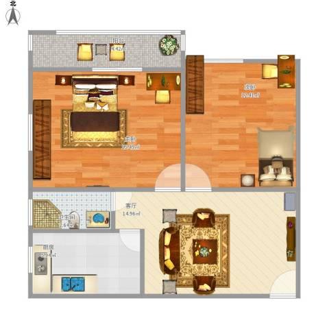 毕家洼小区2室1厅1卫1厨74.00㎡户型图