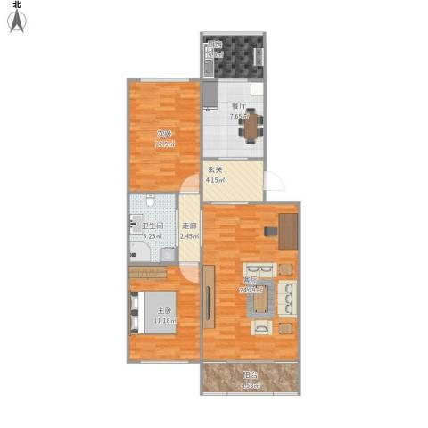 天源山庄2室2厅1卫1厨105.00㎡户型图