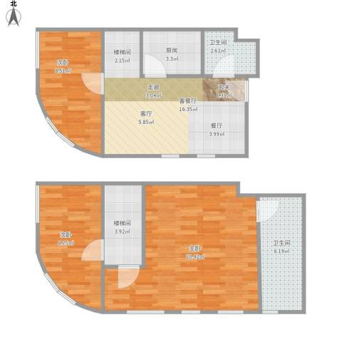 TOUCH悦城3室1厅2卫1厨95.00㎡户型图