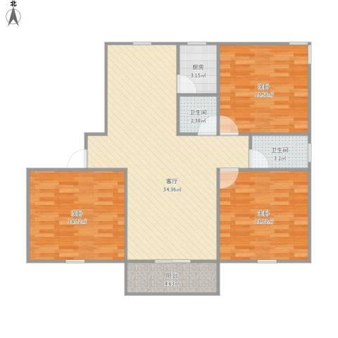 杨泰春城3室1厅2卫1厨120.00㎡户型图