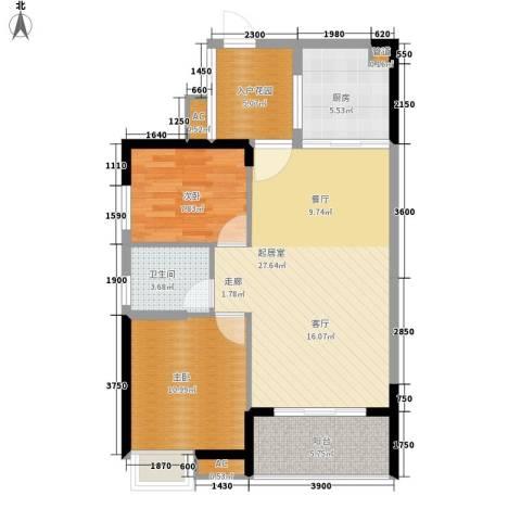融科香山国际2室0厅1卫1厨90.00㎡户型图