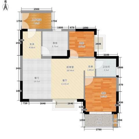 鸿基橄榄君庭2室0厅1卫1厨79.00㎡户型图