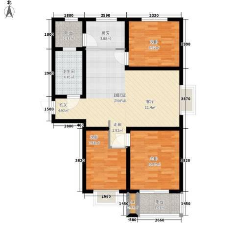 光华里3室0厅1卫1厨98.00㎡户型图