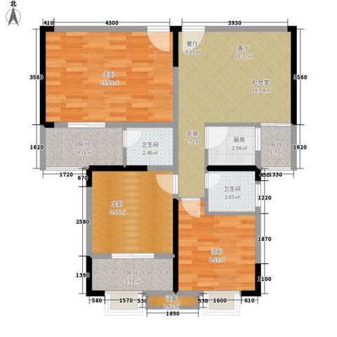 东方银座3室0厅2卫1厨78.00㎡户型图