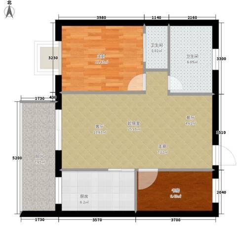 都市先锋2室0厅2卫1厨73.00㎡户型图