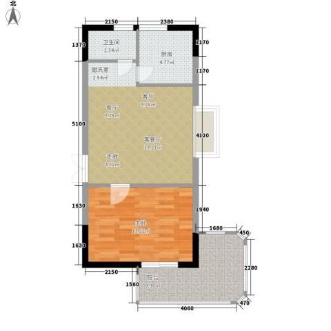 雄距都市东家1室1厅1卫1厨57.00㎡户型图
