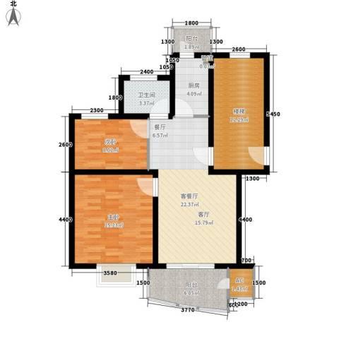 玫瑰花园2室1厅1卫1厨107.00㎡户型图