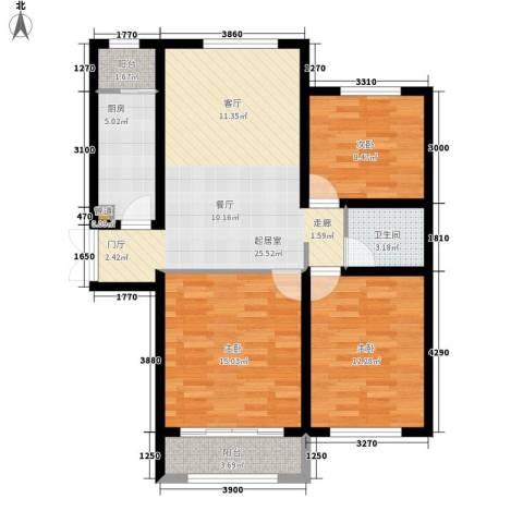 桃花岛城市花园3室0厅1卫1厨108.00㎡户型图