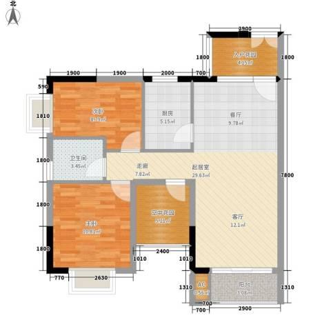 鸿基橄榄君庭2室0厅1卫1厨91.00㎡户型图