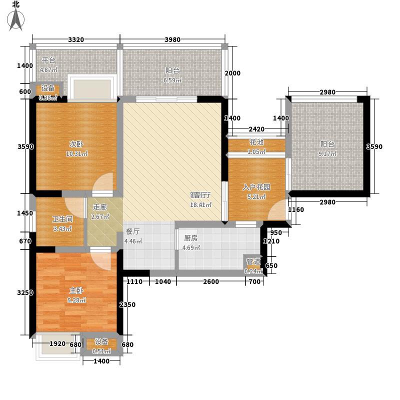 钱隆天下91.37㎡4、5号楼5-A面积9137m户型
